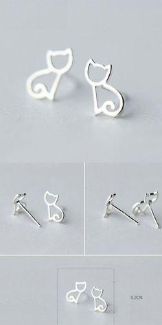 so cute earring! Cute Hollow Kitten Silver Animal Cat Earring Studs #earring #cat #kitten #hollow #silver