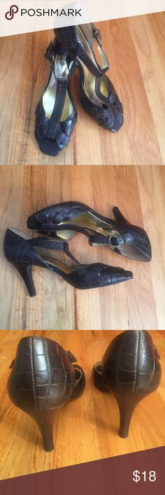 LOVELY Nickles Soft ankle strap heels NICKLES Soft brown ankle strap heels - alligator print look. SUPER COMFORTABLE and CLASSY!  GREAT barely worn condition. Nickles soft Shoes Heels