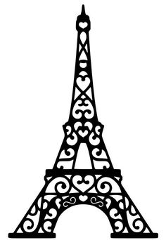 eiffel tower in black lace with hearts on a white background Kirigami, Paris Birthday Parties, Paris Party, Tour Effel, Thema Paris, Machine Silhouette Portrait, Silhouette Cameo Software, Stencils, Paper Quilling