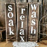 Rustic Primitive Bathroom Decorative Signs