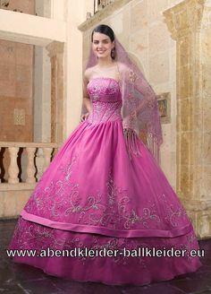 Fuchsia Sissi Abend Kleid Ballkleid Brautkleid