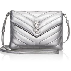 SAINT LAURENT Lou Metallic Leather Shoulder Bag ($1,150) ❤ liked on Polyvore featuring bags, handbags, shoulder bags, quilted hand bags, genuine leather shoulder bag, quilted leather shoulder bag, leather man bags and hand bags
