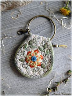 Lovely Key Holder Sunny Mood. Made in the technique of Japanese patchwork.  - Key holder is hand sewed by me stitch by stitch (not sewing machine).