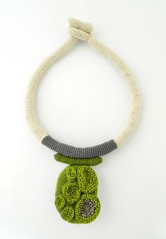 """Lidia Puica - 61.91€ Collection """"The forest touch"""" Green, Beige and Gray Necklace  Made of: Cotton thread, glass beads Size: 46 cm"""