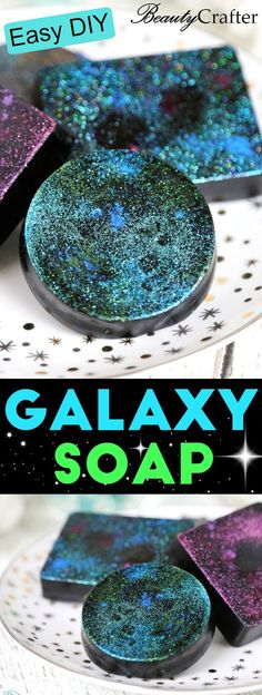 Activated Charcoal Soap Recipe and DIY Galaxy Soap - DIY Galaxy Soap: Cosmic Charcoal Soap Recipe - Diy Lush, Diy Spa, Diy Galaxie, Creation Bougie, Galaxy Crafts, Diy Savon, Activated Charcoal Soap, Homemade Soap Recipes, Soap Making Recipes