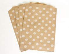 "20 Polka Dot Kraft Bags - Middy Bitty Bags -  kraft bags - 5 x 7.5""- Favor Bags-Product Packaging-Gift Wrap-Made in the USA"