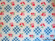 Vintage 1930s Cotton FabricCountry  Fruit & Gingham2 by linbot1, $30.00