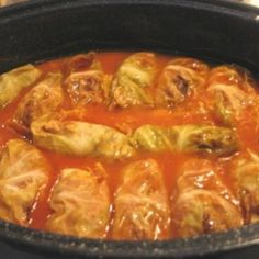 Stuffed Cabbage Rolls. This is pretty close to my recipe, except I prefer to do them in a crock pot.