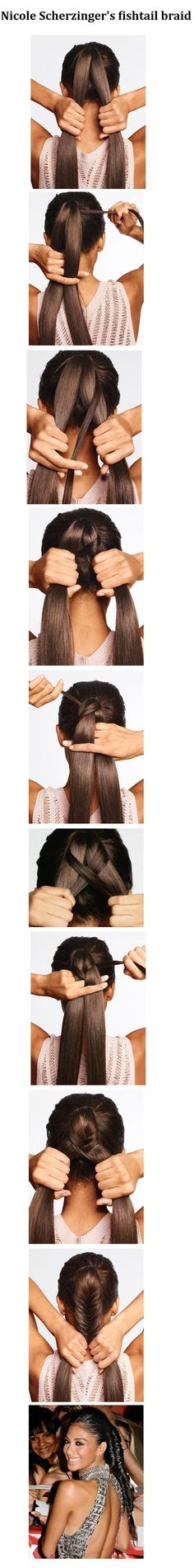 Nicole Scherzinger's fishtail braid | Hairstyles and Beauty Tips.  This explains better how to do this braid. Plus it shows how to do it yourself.