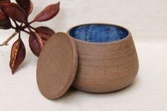 Handmade wheel trown ceramic lidded jar, vessel, container, stoneware, dark brown clay,blue glaze, rough natural texture, home decor