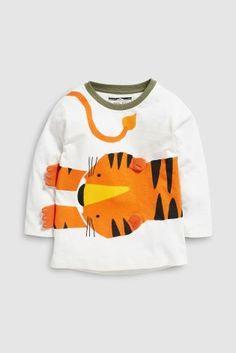 b77b9895ebb Buy Orange Long Sleeve 3D Tiger T-Shirt (3mths-6yrs) from the Next UK  online shop