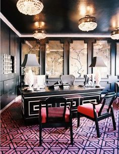Chinoiserie meets Hollywood Regency...I love the use of black walls and ceiling.