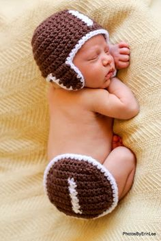 CROCHET PATTERN Baby Hat Football SET Hat and by TooCuteCrochet, $4.99