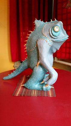Lizard Man Paper Mache Sculpture
