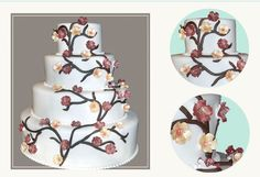 Tree of Life design, airbrushed sugar flowers, rolled fondant decor Rolling Fondant, Life Design, Sugar Flowers, Tree Of Life, Cake Decorating, Decorative Plates, Cakes, Desserts, Wedding