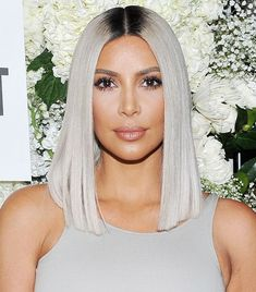 Kim Kardashian Just Debuted Yet Another Lob Haircut, But This Time It's Silver via @ByrdieBeauty