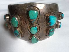 Native American Turquoise  Sterling Silver Men's  Cuff Bracelet - 110 grams