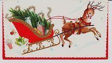 Vintage Unused Embossed Deer w/Jingle Bells and Sleigh Christmas Greeting Card