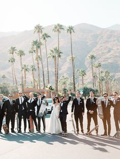 Chic black + white Ace Hotel Palm Springs wedding - 100 Layer Cake Groomsmen Outfits, Groom And Groomsmen, Bridesmaid Inspiration, Wedding Inspiration, 100 Layer Cake, Outside Wedding, Bridal Outfits, Here Comes The Bride, Maid Of Honor