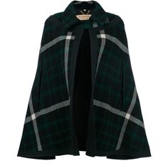 Burberry checked cape (€1.095) ❤ liked on Polyvore featuring outerwear, coats, cape, black, burberry, burberry cape and cape coat