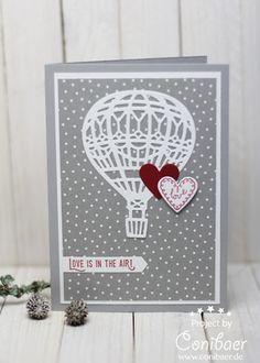 www.conibaer.de selbstgemachte Karte mit einem Heißluftballon in grau, weiß und einem Herzchen in rot. #basteln #stempeln #stanzen #bigshot #handgemacht #selbstgemacht #karte #grußkarte #liebe #hochzeit / Handmade greeting card with a hot air balloon in white, grey and a red heart #papercrafts #liftmeup #stamping #diecutting