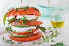 Ripe Tomato Layered with Buffalo Mozzarella, Avocado, Arugula and Basil