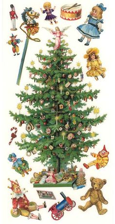 1 Sheet of Stickers Victorian Christmas Tree and Toys Victorian Christmas Tree, Noel Christmas, Christmas Paper, Christmas Toys, Retro Christmas, Images Vintage, Vintage Christmas Images, Vintage Holiday, Christmas Pictures