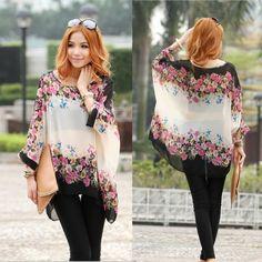 Bohemian Style Women Oversized Dolman Sleeve Floral Chiffon Tops Blouse