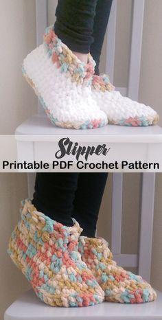 Make a cozy pair of slippers. slipper crochet patterns - crochet pattern pdf - h. Crochet Boots, Crochet Slippers, Crochet Clothes, Crochet Baby, Knit Crochet, Felted Slippers, Crochet Slipper Pattern, Crochet Woman, Crochet Patterns For Beginners
