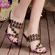 Summer Rhinestone Slippers Gold Pink Wedding Party Shoes Fashion Women High Heel Sandals Sparkling Prom Shoes Plus size Prom Shoes, Wedding Shoes, Shoe Boots, Shoes Heels, Beautiful Sandals, Open Toe Sandals, Womens High Heels, Girls Shoes, Me Too Shoes