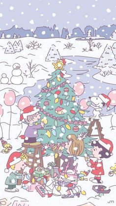 Christmas Phone Wallpaper, Snoopy Wallpaper, Holiday Wallpaper, Kawaii Wallpaper, Pastel Wallpaper, Iphone Background Wallpaper, Cellphone Wallpaper, Aesthetic Iphone Wallpaper, Peanuts Christmas