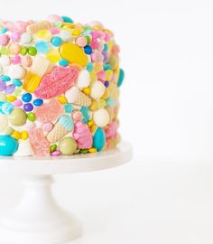 Candy encrusted birthday cake