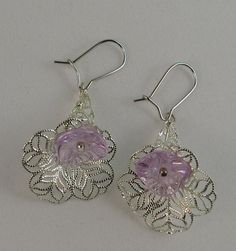 Silver filigree horn with pastel flower earrings by BCPCraft, $18.00