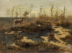 Artwork by Rosa Bonheur, Deer Amongst Trees, Made of oil on canvas