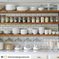 "(@silicatestudio.shelfology) on Instagram: ""Don't you just love these floating shelves from @janegreenauthor 's #kitchenshot?? Such a rad way to organize a kitchen!"""