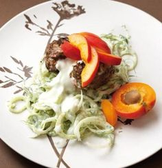 Low-fat ostrich burger with fennel tzatziki and apricot Ostrich Meat, Apricot Slice, Meat Recipes, Healthy Recipes, Summer Bbq, Tzatziki, Fennel, Light Recipes, Healthy Options