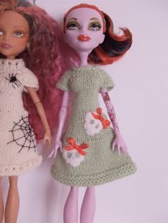 Monster High Doll Hand Knit Apple Green Wool Shift Dress with Skull and Bow Embroidered Detail Free Post WW. $20.00, via Etsy.