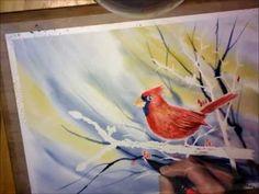 Northern Cardinal - Watercolor Painting Process