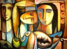 """Diego Voci: image of """"3 Sisters"""" 1970 is one of several Diego works of the Iatesta Collection that will be featured on diegovoci.com in the next few weeks.   The painting was done with sand in the oil paint to create texture and depth. Read more about the story of how Lena Iatestsa & Family was gifted this DIEGO painting: http://www.artifactcollectors.com/diego-history-4330818/Page4.html#97"""