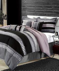Gray Castle Rock Embroidered Comforter Set