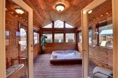 Hot Tub Porch Jacuzzi, Home Spa Room, Hot Tub Room, Small Sunroom, Four Seasons Room, 4 Season Room, Hot Tub Gazebo, Outdoor Sauna, Sunroom Addition