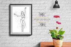 One line Ballerina, One line dancer, Minimalist woman portrait Ballerina Bedroom, Ballerina Art, Woman Portrait, Female Portrait, Continuous Line Drawing, Black White Art, Own Home, Anniversary Gifts, My Design