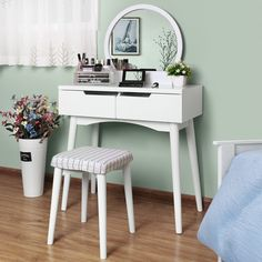 VASAGLE Vanity Table Set with Round Mirror 2 Large Drawers with Sliding Rails Makeup Dressing Table with Cushioned Stool, White Vanity, Vanity Table, Vanity Table Set, Furniture, Home, Round Mirrors, Mirror, Dressing Table, Home Decor