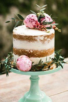 wedding cakes nakedcake One Tier Naked Wedding Cake topper with Pink Peonies Wedding Cake Rustic, Rustic Cake, Elegant Wedding Cakes, Cake Wedding, Wedding Cakes One Tier, Wedding Cakes With Cupcakes, Wedding Cake Toppers, Cupcake Cakes, Food Cakes