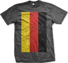 $14.95 German Flag Mens T-shirt, Deutschland German Pride BIG Distressed Flag Design Men's Tee Shirt