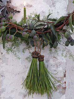 Real black pine needles made into tassels would make fantastic napkin ring ornaments for the holidays