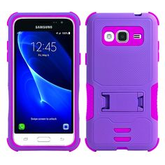 Samsung Galaxy J7 (2015) Impact Silicone Case Dual Layer with Stand Purple Pink