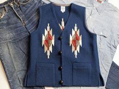 オルテガ 手織りチマヨ・ベスト 83SQ-38100 スクエアフロント・タイプ サイズ38 ネイビーブルー アメリカ製