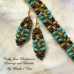 2 delige Set groot! Mooie armband en oorbellen Bangle met SuperDuo kralen.  Superduo turkoois Superduo limon lade (goldish/bruin) bruin metallic iris