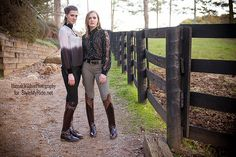 Its hard to go wrong with a classic riding breech paired with a designer blouse and riding boots. Here we feature two Christine Manthey blouses and a gorgeous Manthey leather blazer, paired with breeches by 2KGrey and Sarm Hippique. Below, both Jess Fahey and Keri Leonard, model the Manthey Collection gray silk ombre blouse embellished with an exquisite pewter gray velvet key hole collar and cuffs. Jess wears 2KGrey's black denim breeches by Kiya Tomlin and Keri is wearing the 2KGrey Swirls.